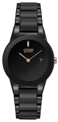 Citizen Women's Eco-Drive Rose Gold Accents Black 29mm Watch GA1055-57F