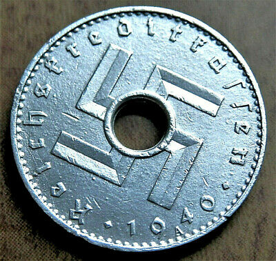 1940 WW2 NAZI ERA GERMANY MILITARY ORIGINAL 5 REICHSKREDITKASSEN COIN A /282rare
