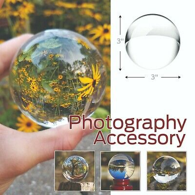 Crystal Ball Sphere for Photography with Microfiber Cleaning Cloth, Crystal Sun-