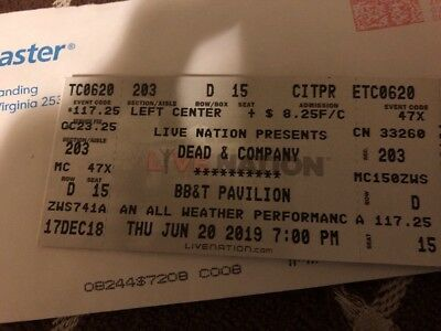 Dead and Company 6/20/19 at BB&T Pavilion - Great Seat! Hot Ticket!