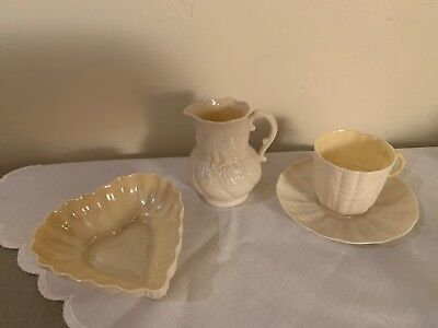 Belleek Lot of Four, Heart Dish, Cup and Saucer, Creamer, Green Mark