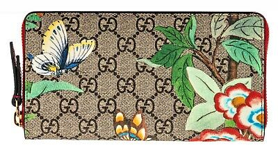 5a832426e4b Gucci Signature Tian Bird Flower GG Large leather zip around wallet Italy  New