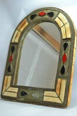 Ancinet arabic Fine mirror glass engraved handmade of copper and real camel bone