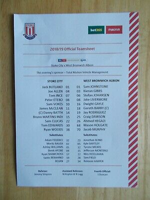 09/02/2019 Stoke City V West Bromwich Albion Official Coloured Teamsheet