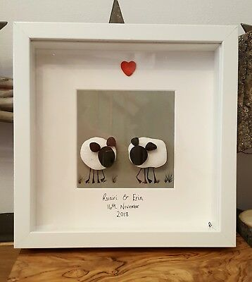 Love ewe. Two Sheep hand crafted pebble art picture. 23cm frame