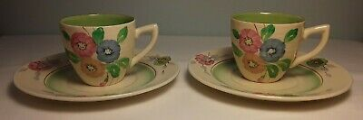 Clarice Cliff, 2 Cups & Saucers, Hand Painted Flowers, Art Deco, Spring, Newport