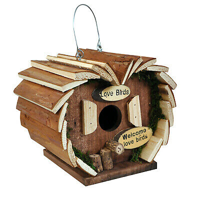 Natures Market Wooden Wood Small Love Bird House Hotel Hanging Nesting Box