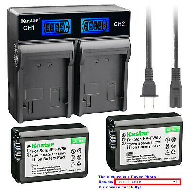 Kastar Battery LCD Rapid Charger for Genuine Sony NP-FW50 Original BC-VW1 BC-TRW