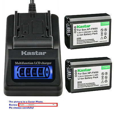 Kastar Battery LCD Quick Charger for Genuine Sony NP-FW50 Original BC-VW1 BC-TRW