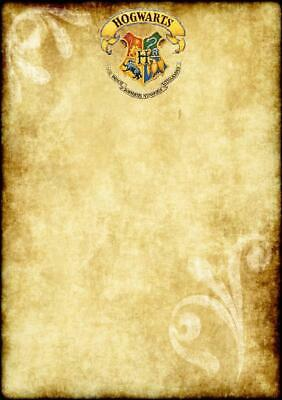 """Harry Potter Parchment Style Paper A4 (12""""x8"""") Gift Invitation Spells Kids Party"""