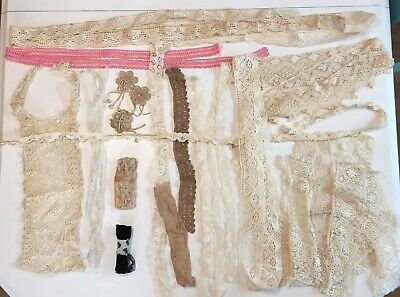Lot Antique Vintage Lace Trim Crochet Edging Notions Turtle Braid