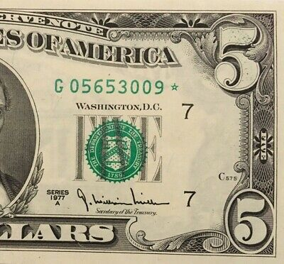 1977A $5 Chicago * Star * ⭐️ Frn, Crisp Uncirculated Banknote, Run 2