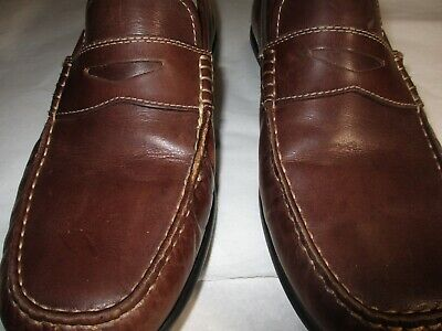 f9cd8ebef04 Mens Ecco Leather Driving Mocs Penny Loafer Size 42 Sz 9.5 Narrow C D Penny