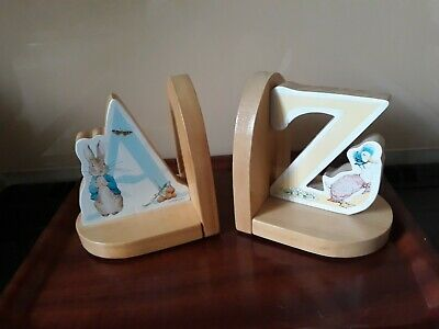 Pair of Beatrix Potter - Peter Rabbit and Jemima Puddle Duck Wooden Bookends