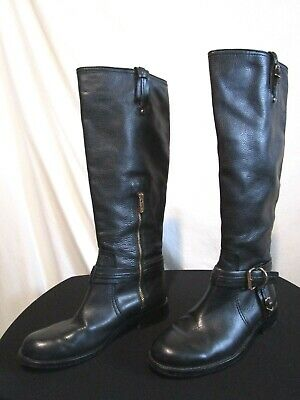 6d664b9f45c Vince Camuto Kabo Black Leather Knee High Gold Hardware Riding Boots Women  Sz 8M