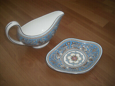 Wedgwood Florentine Turquoise Gravy Boat And Saucer
