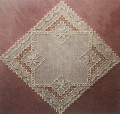 """SHARLENE Hardanger Embroidery Pattern by J DESIGNS! Beautiful 13"""" Square Doily"""