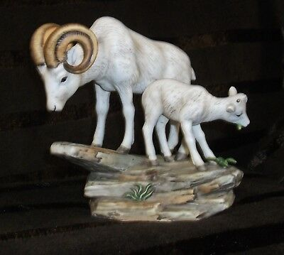 Homco Maserpiece Porcelain Mountain Goat and Kid Figurine 1984