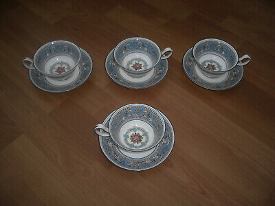 Wedgwood Florentine Turquoise  Tea Cups And Saucers X4