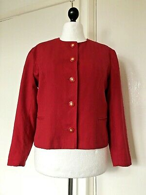 d540f47c65f AVOCA Collection Irish Pure New Wool Women s Red Cropped Blazer Jacket Size  L