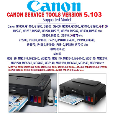 CANON G2000, G2100, G2400, G2900 Waste Ink Counters Reset