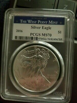 2016 American Silver Eagle 1oz PCGS MS70 West Point Mint Label