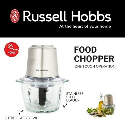 Russell Hobbs Stainless Steel Glass Food Processor Mini Electric Chopper Blender