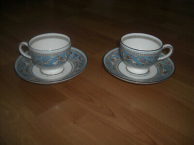 Wedgwood Florentine Turquoise Leigh Tea Cups And Saucers X2