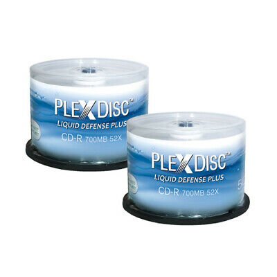 100 PC PlexDisc 52X 700 MB CD-R Water Resistant White Inkjet Printable 641-C14