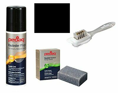 Pedag Suede Sheepskin Nubuck Leather and Textile Color and Care Kit, Black, 3 Co