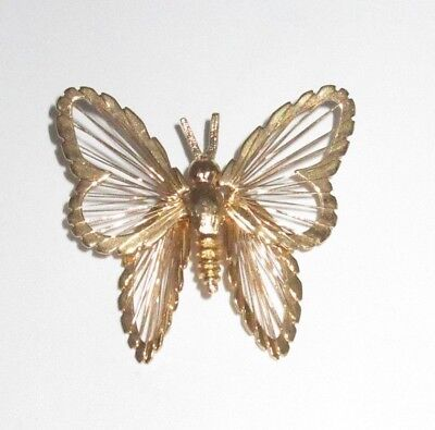 Monet Signed Pin Brooch Spinerette Butterfly Wire Gold Tone Vintage Antique CHIC
