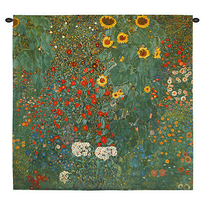 Fine Art Tapestries Gustav Klimt Farm Garden with Sunflowers Wall Hanging- Small