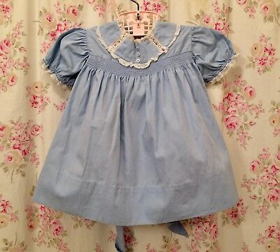 Vintage toddler dress, 1950's,  blue, cotton, 18 months, Easter