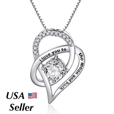 I Love You To The Moon and Back Heart 925 Silver Necklace Mother Wife + Box N137