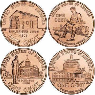 Complete Set D Mint Lincoln Bicentennial 2009 Penny Cent From Mint Roll 4 Coins