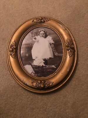 "Antique Victorian Gold Gilt Gesso Oval Picture Frame 19th Century Fits 8"" x 10"""