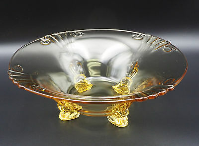 Vintage Circa 1930 Four Footed Yellow Depression Glass Large Serving Bowl