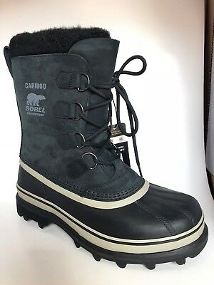 NIB Sorel Men's Caribou Winter Boots -40F Rated Black Tusk WATERPROOF Pick Size