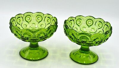 Pair of 2 Vintage L.E. Smith Green Glass Moon & Stars Pattern Taper Candle Holde