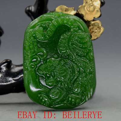 Chinese Natural Green Hetian Jasper Jade Hand Carved Tiger Pendant BY12