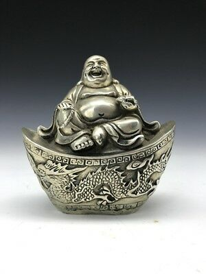 Chinese ancient Tibet silver carved Buddha