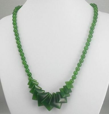 Exquisite Chinese rare 100% natural hand-carved JADE necklace