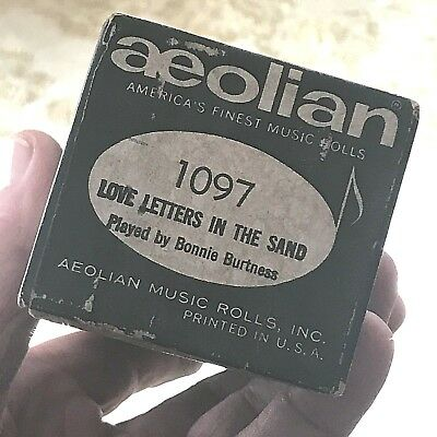 """Aeolian Player Piano Roll """"Love Letters in the Sand""""  No.1097.  Good Condition!"""