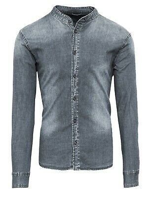 Camicia di Jeans uomo Diamond casual grigio denim con collo coreana slim fit