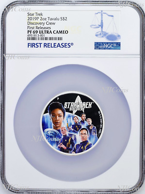 2019 Star Trek: Discovery Crew 2oz .9999 Silver Proof $2 Coin NGC PF69 FR