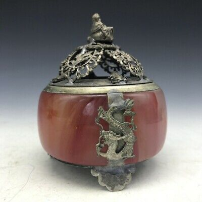 The adornment of the ancient jade inlaid with Tibet silver Buddha incense burner