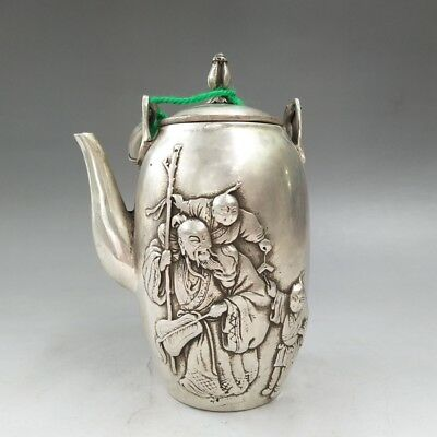 China's Tibetan silver carved ancient old man image teapot