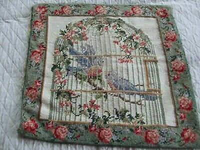 Vintage Needlepoint Of Birds In Cage