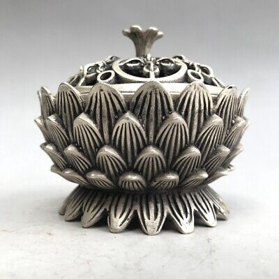 China's Tibet silver hand carved incense burner of the lotus image