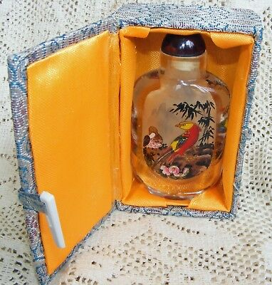 Vintage Crystal Snuff Bottle - In Original Box !!!! - Hand Painted !!!